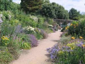 De blauw met gele borders van West Dean Gardens